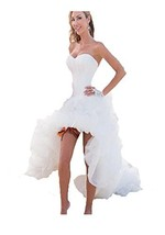Fanmu Sweetheart High Low Organza Wedding Dress Bridal Gowns Ivory US 6 - $239.99