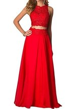 Fanmu Two Piece Lace Bridesmaid Prom Dresses Formal Gowns Red US 24plus - $119.99