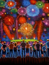 Naive painting, Folk Art, Fireworks, Original acrylic painting by Jordan... - $3,300.00