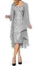 Fanmu Women's Mother of the Bride Dress With Jacket Mother Party Dress Silver... - $99.99