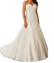 Fanmu Sweetheart A-line Lace Wedding Dresses Bridal Gowns White US 8 - $189.99