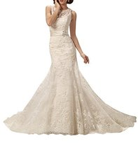 Fanmu Sleeveless Lace Appliques Mermaid Chapel Train Wedding Dresses Bridal G... - $199.99