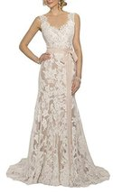 Fanmu Women's Vintage Lace Wedding Dresses Bridal Gown Champagne US 6 - $189.99