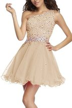 Fanmu One Shoulder Beading Chiffon Cocktail Homecoming Dress Prom Gown Champa... - $119.99