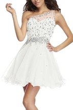 Fanmu One Shoulder Beading Chiffon Cocktail Homecoming Dress Prom Gown Ivory ... - $119.99