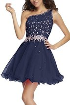Fanmu One Shoulder Beading Chiffon Cocktail Homecoming Dress Prom Gown Navy U... - $119.99