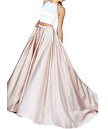 Fanmu Halter Beading Two Piece Mermaid Prom Dresses Formal Evening Gowns... - $95.99