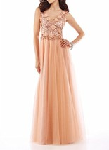 Fanmu V-neck Straps Long Tulle Evening Prom Dress Party Event Gowns Champagne... - $85.99