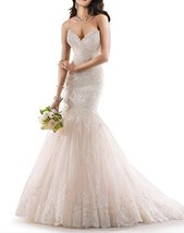Fanmu Sweetheart Mermaid Lace Tulle Wedding Dress Bridal Gowns Ivory US 20plus - $189.99