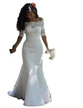Fanmu Off Shoulder Half Sleeves Lace Mermaid Wedding Dresses Bridal Gown Ivor... - $219.99