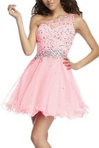 Fanmu One Shoulder Beading Chiffon Cocktail Homecoming Dress Prom Gown Pink U... - $119.99