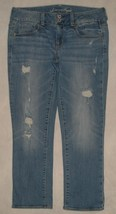 American Eagle Destroyed Flap Pocket Artist Crop Capri Jeans Womens Size 8 - $24.99