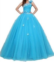 Fanmu One Shoulder Long Tulle Ball Gown Quinceanera Prom Dresses Blue US 14 - $159.99