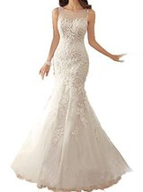 Fanmu Scoop Neck See Through Back Lace Mermaid Wedding Dress Bridal Gowns Whi... - $219.99