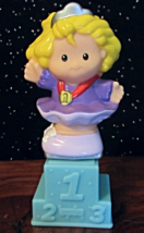 NEW! Fisher Price Little People Olympic Gold Metalist Purple w/Stand Ice... - $9.99