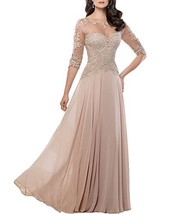 Fanmu Mother's Lace Half Sleeve Mother Of Bride Dress Prom Gowns Champagne US 14 - $109.99
