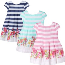 Mayoral Little Girls 2T-9 Striped to Floral Border Fit Flare Social Party Dress
