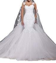 Fanmu Spaghetti Straps Lace Appliqued Trumpet Mermaid Bridal Wedding Dresses ... - $279.99