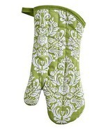 Jessie Steele Oven Mitt Green & Cream Damask Co... - $13.86