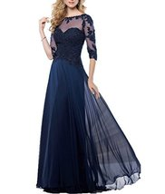 Fanmu Mother's Lace Half Sleeve Mother Of Bride Dress Prom Gowns Navy US 7 - $109.99
