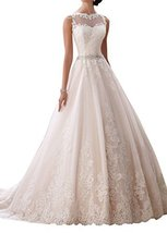 Fanmu Lace Tulle Prom Ball Long Gowns A-Line wedding Dresses White US 20plus - $179.99