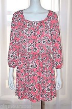 JUICY COUTURE Pink Floral Chiffon Day Summer Casual Beach Dress sz Small S - $33.45