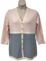 St. John Collection Pink/Light Blue Colorblock Knit Cardigan Jacket L - $116.56