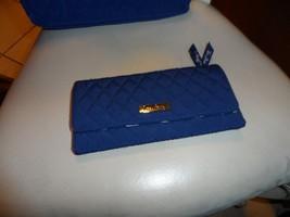 Vera Bradley Classic Navy Cobalt microfiber clutch wallet  - $29.50