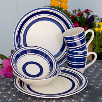 Royal Norfolk Blue Striped Stoneware Dinner Plates 10½\  & Royal Norfolk Blue Striped Stoneware Dinner and 15 similar items