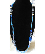 """35"""" BLUE ON BLUE BEADED NECKLACE ~ SILVER TONE ... - $4.89"""