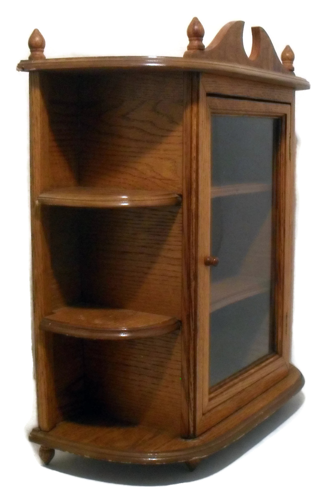 Wood oak vtg display case for miniatures curio cabinet