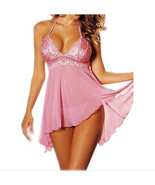 Women Sexy Lingerie Underwear Babydoll+G String Lace Low Front Short Pin... - $9.88
