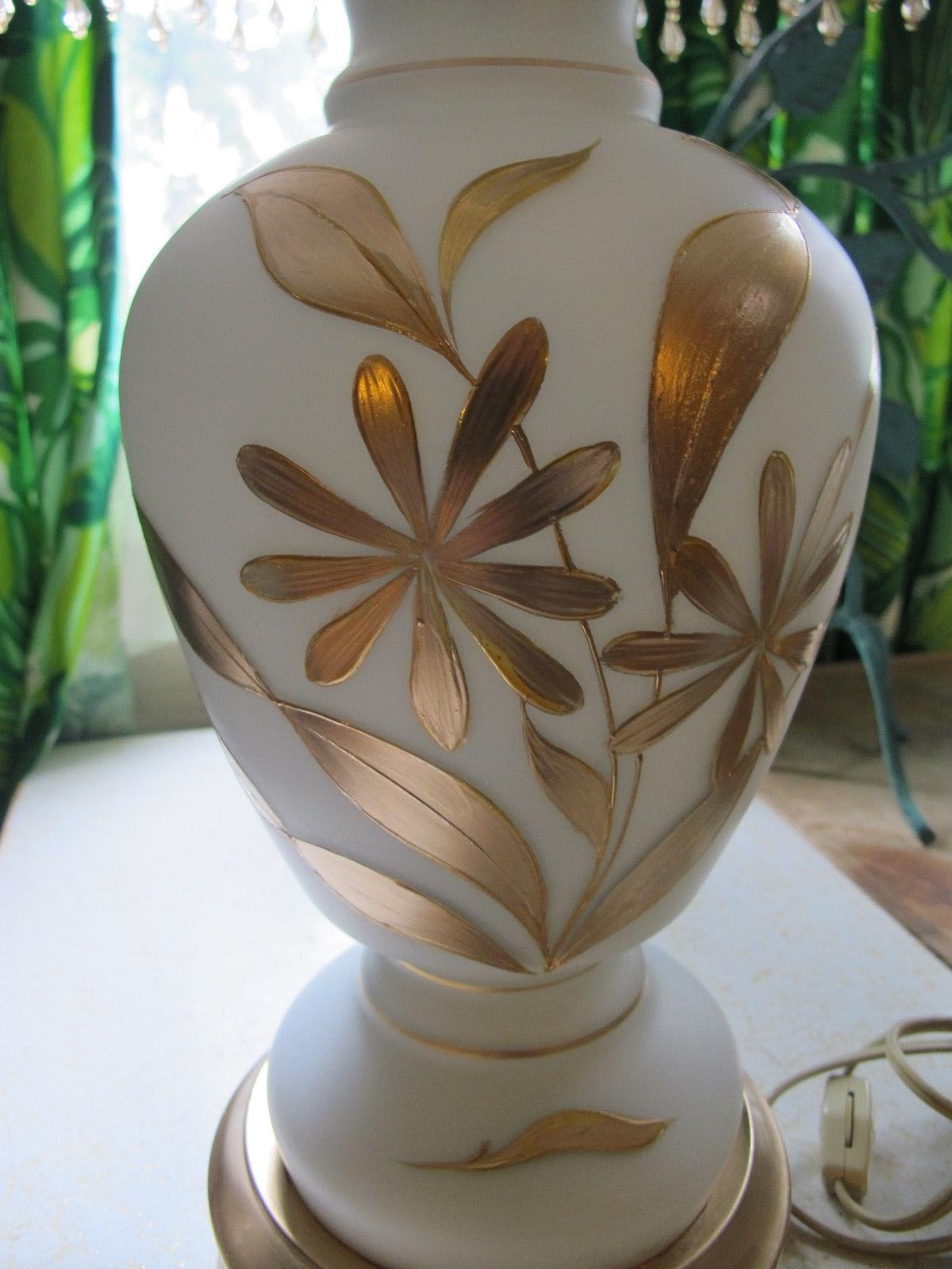 Vintage Blown Glass Bavarian Triplex Hand Painted Floral