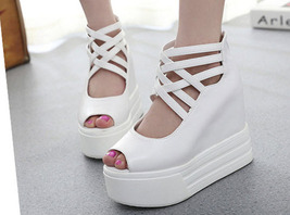 ps038 Tredning thick sole crossed strappy wedge sandals, size 35-39, white - $48.80