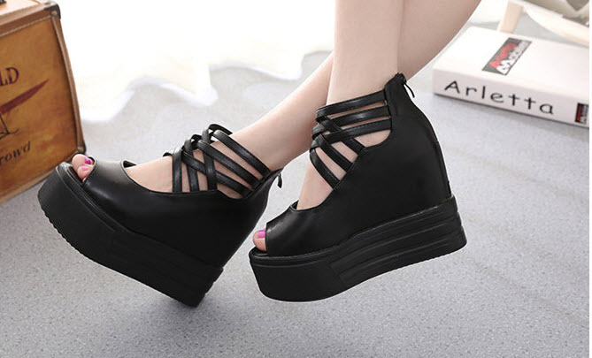 ps038 Tredning thick sole crossed strappy wedge sandals, size 35-39, black - $48.80
