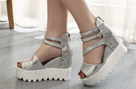 ps039 Sweet strappy ankle wedge sandals, size 35-39, silver - $48.80
