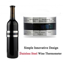 Stylish Stainless Steel Wine Bracelet Thermometer LCD Display - $13.90
