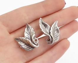 DANECRAFT 925 Sterling Silver - Vintage Floral Leaf Non Pierce Earrings - E9845 - $31.83