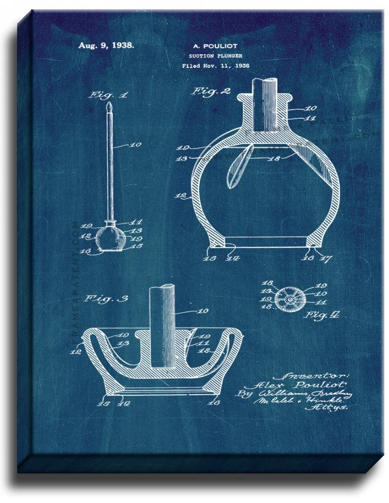 Primary image for Toilet Plunger Patent Print Midnight Blue on Canvas