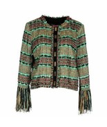Atos Lombardini green black brown tweed jacket with fringe NWT womens US 10 - $100.00