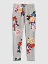 Gap Kids Girl Leggings 6 7 8 10 12 Gray Floral Elastic Waist Cotton Fren... - $16.95