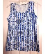 CHICO'S Designer Women's BLUE WHITE Printed Tank Top Shirt Tee Size 1 (s... - $28.37