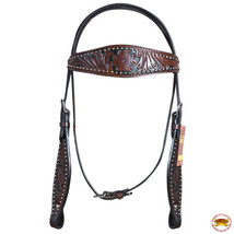 Hilason Western Horse Headstall Bridle American Leather Floral U-T-HS - $63.31