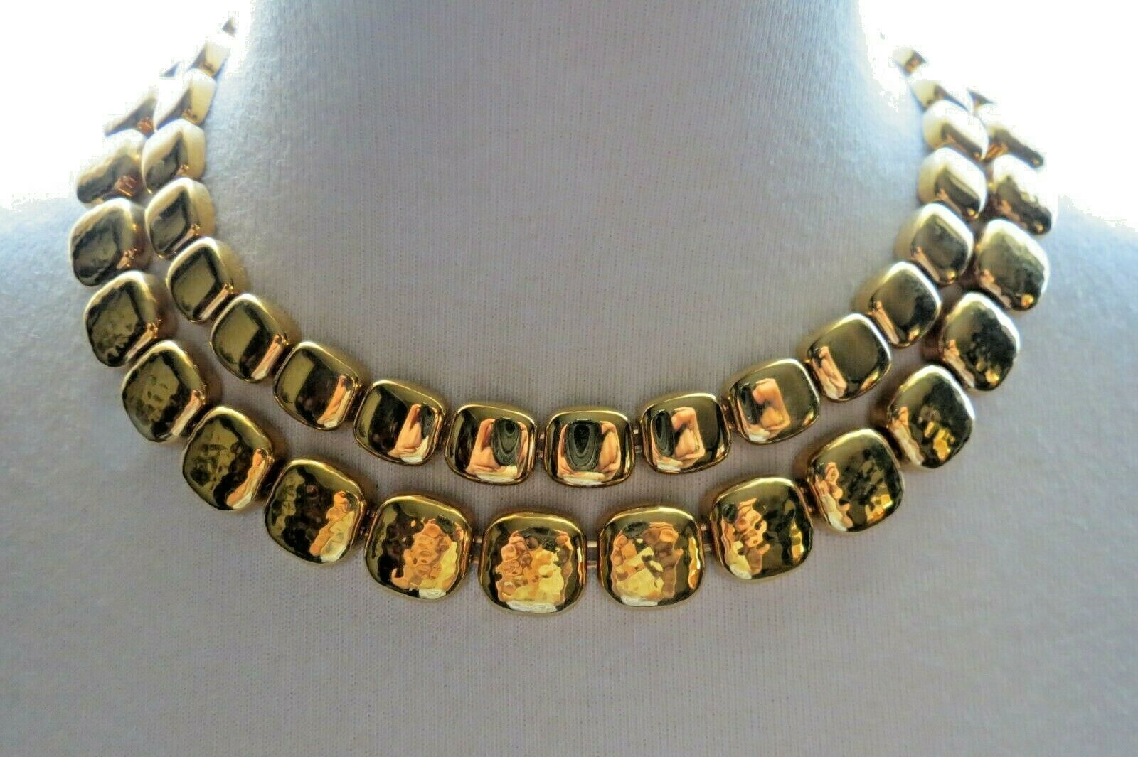 """Monet Necklace Gold Plated Double Links 17"""" Designer Square Hammered NICE"""