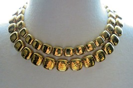 "Monet Necklace Gold Plated Double Links 17"" Designer Square Hammered NICE - $24.74"