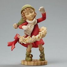 Enesco Heart of Christmas Elf with Wreath Figurine, 3.54-Inch
