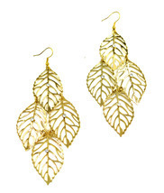 Women new gold clear stone multi leaf drop pierced earrings - $25.63 CAD