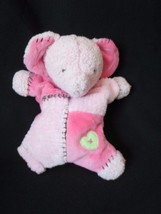 """CARTER'S Hugs and Kisses PINK RATTLE ELEPHANT Lovey Patchwork Plush toy 8"""" - $19.55"""