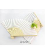 10 x Summer Ladies Hollow Outdoor Wedding Folding White Silk Fabric Hand... - $15.80