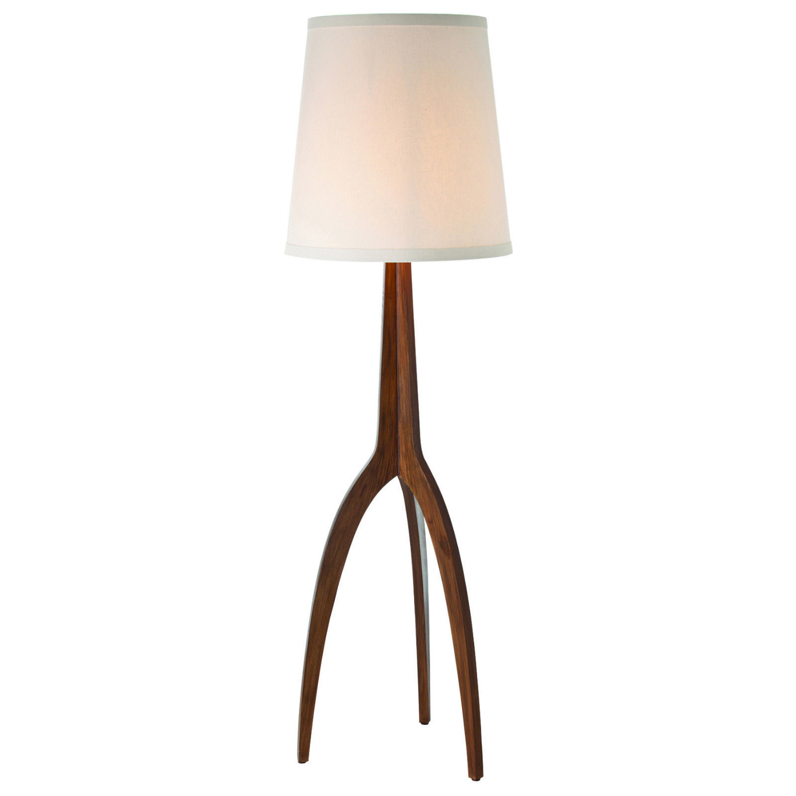 Tripod walnut finished wood mid century modern arteriors for Make wooden floor lamp